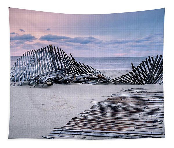 Storm Fence Sunrise Tapestry