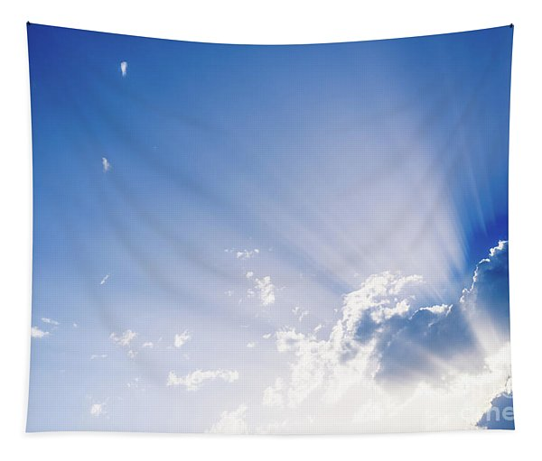 Sunbeams Rising From A Large Cloud In Intense Blue Sky On A Summer Afternoon Tapestry
