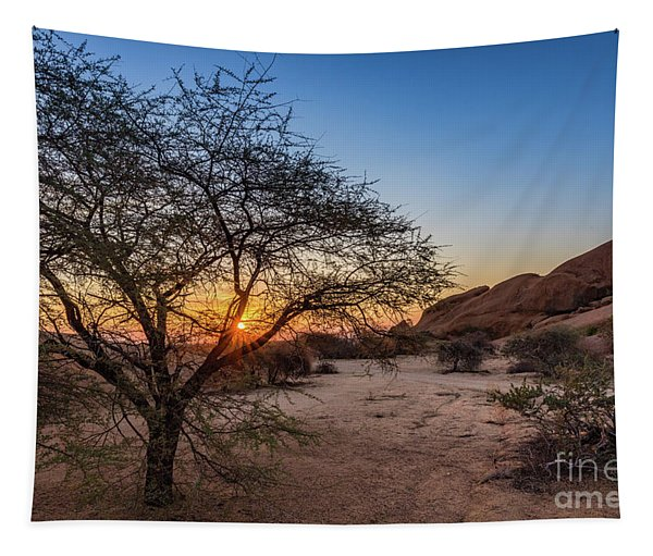 Sunset In Spitzkoppe, Namibia Tapestry