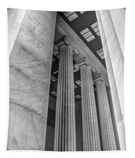 The Lincoln Memorial Washington D. C. - Black And White Abstract Pillars Details 3 Tapestry