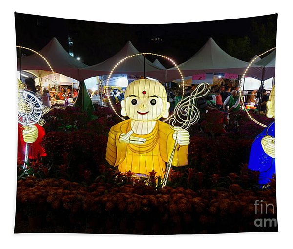 Three Lanterns In The Shape Of Buddhist Monks Tapestry