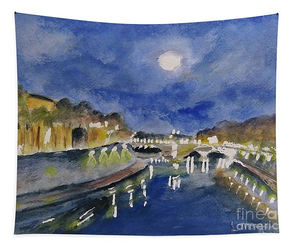 Tiber River At Night Tapestry
