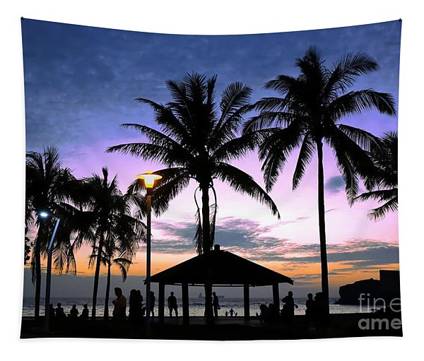 Tropical Beach Scene After Sunset Tapestry