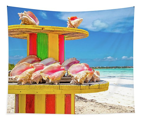 Turks And Caicos Conchs On A Spool Tapestry