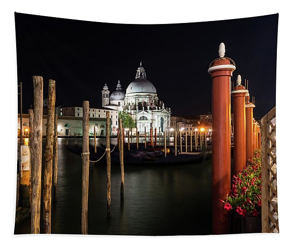 Venice Italy Midnight - Santa Maria Della Salute Through A Forest Of Paline Tapestry
