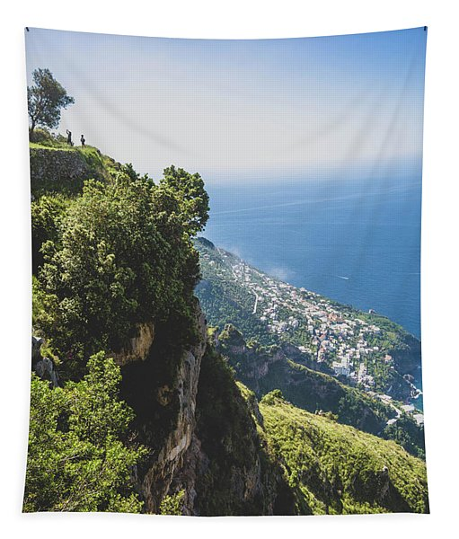 View Of Amalfi Italy From Path Of The Gods Tapestry