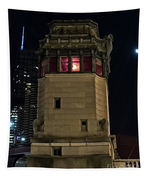 Vintage Chicago Bridge Tower At Night Tapestry