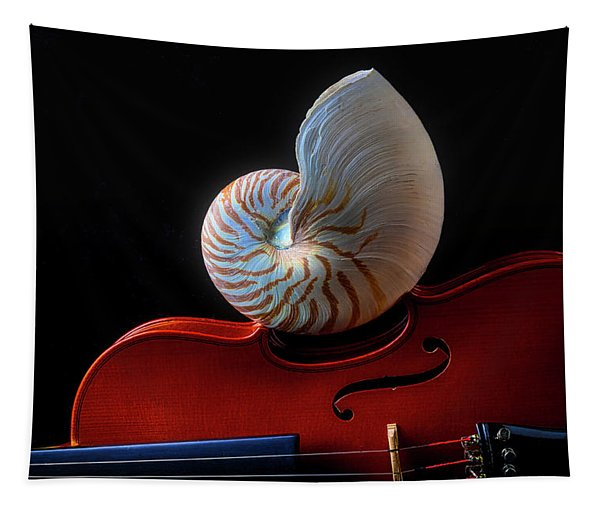 Violin And Nautilus Shell Tapestry
