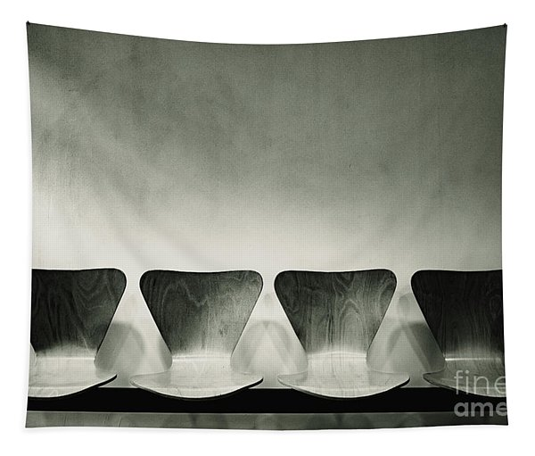 Waiting Room With Empty Wooden Chairs, Concept Of Waiting And Passage Of Time, Black And White Image, Free Space For Text. Tapestry