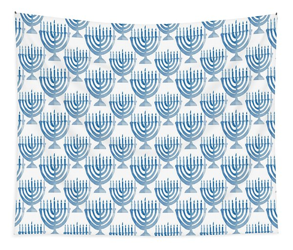 Watercolor Menorahs- Art By Linda Woods Tapestry