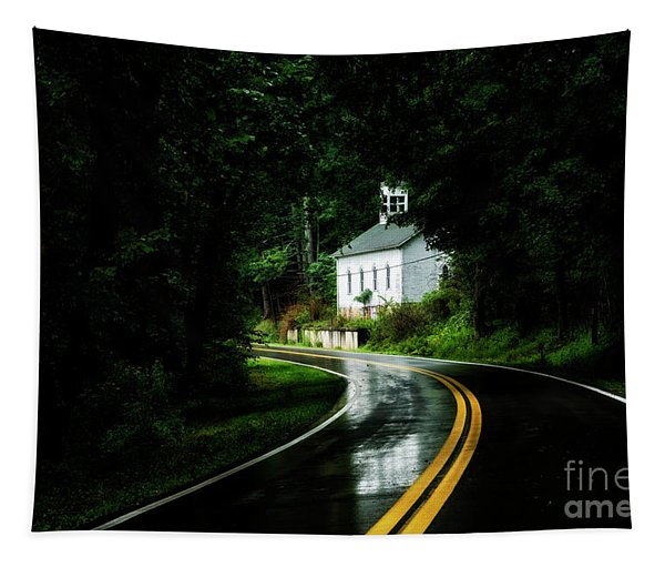 Wet Country Road And Church Tapestry