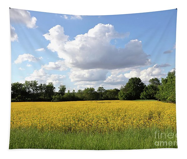 White Clouds With Yellow Wildflowers Tapestry