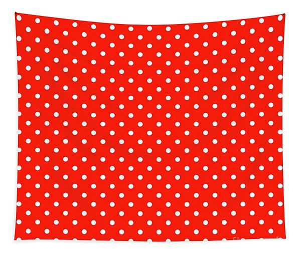 White Dots On A Red Background- Ddh668 Tapestry