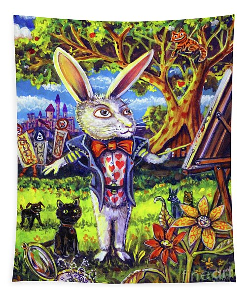 White Rabbit Alice In Wonderland Tapestry