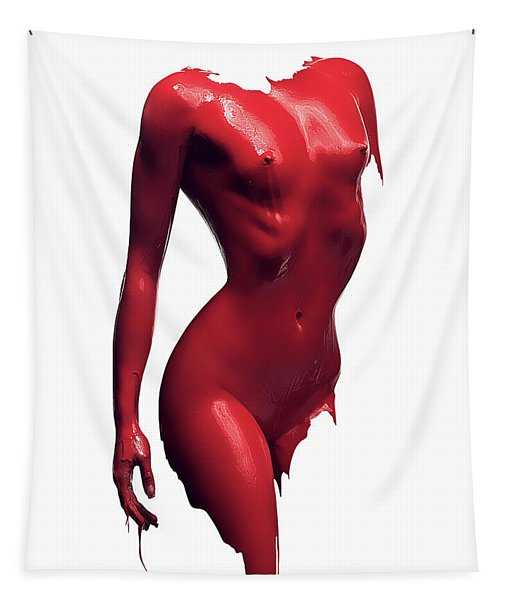 Woman Body Red Paint Tapestry