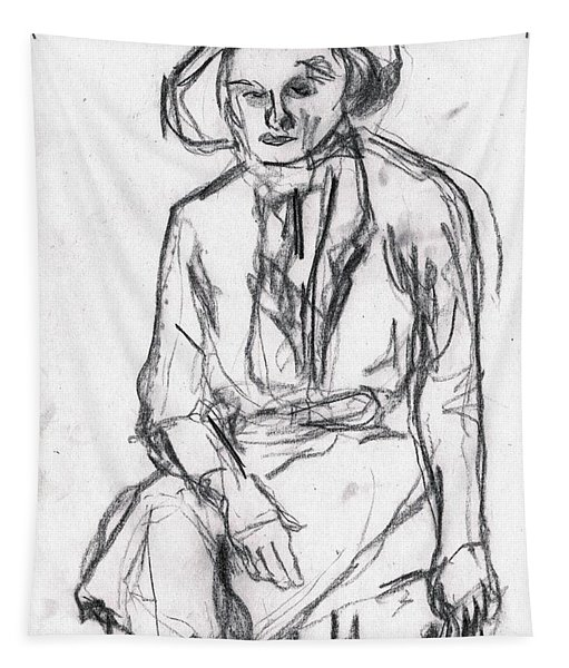 Woman In A Hat Drawing Tapestry