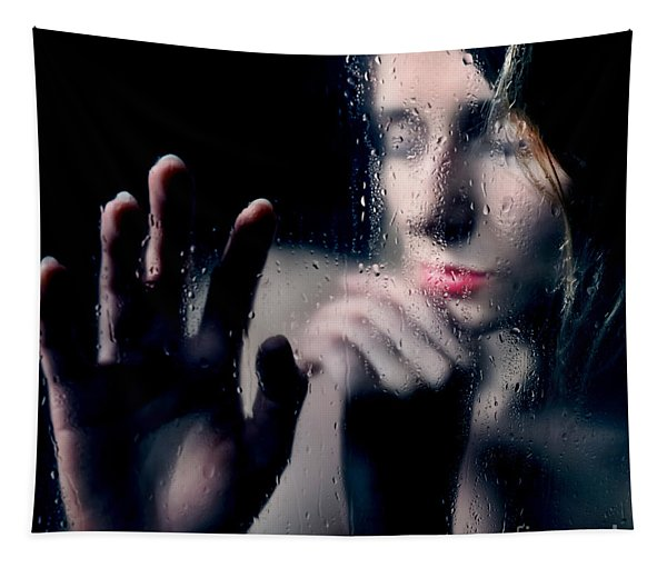Woman Portrait Behind Glass With Rain Drops Tapestry