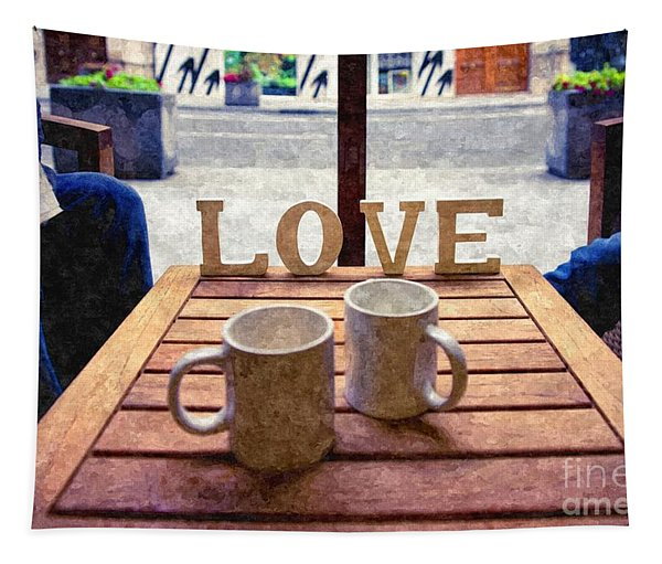 Word Love Next To Two Cups Of Coffee On A Table In A Cafeteria,  Tapestry