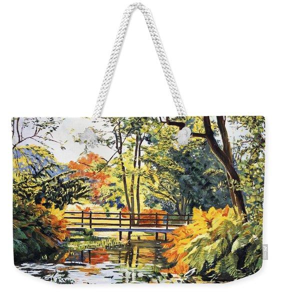 Autumn Water Bridge Weekender Tote Bag