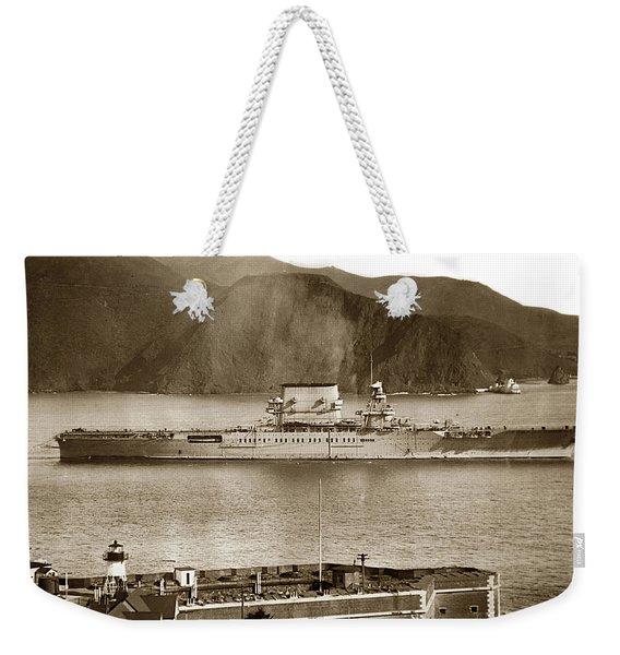 U. S. S. Lexington Cv-2 Fort Point Golden Gate San Francisco Bay California 1928 Weekender Tote Bag