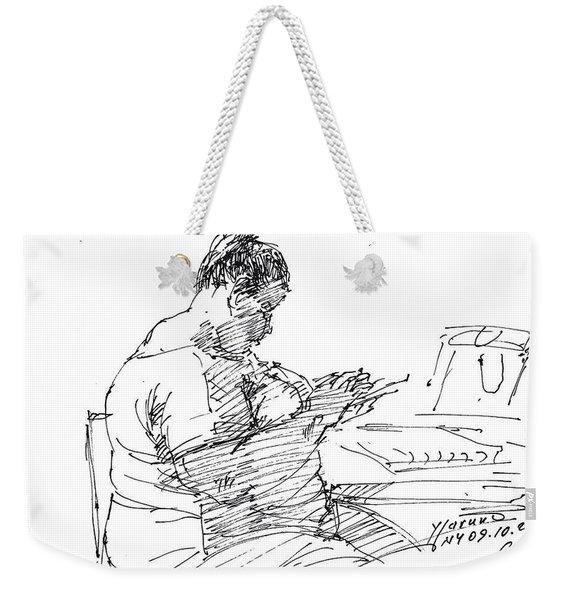 Lady On Smartphone  Weekender Tote Bag