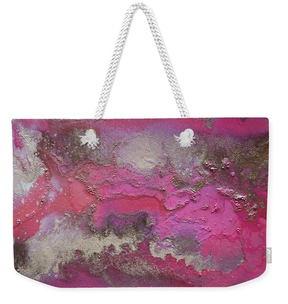 Pink And Gold Abstract Painting Weekender Tote Bag