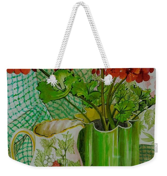 Red Geranium With The Strawberry Jug And Cherries Weekender Tote Bag