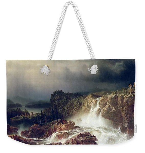 Rocky Landscape With Waterfall In Smaland Weekender Tote Bag