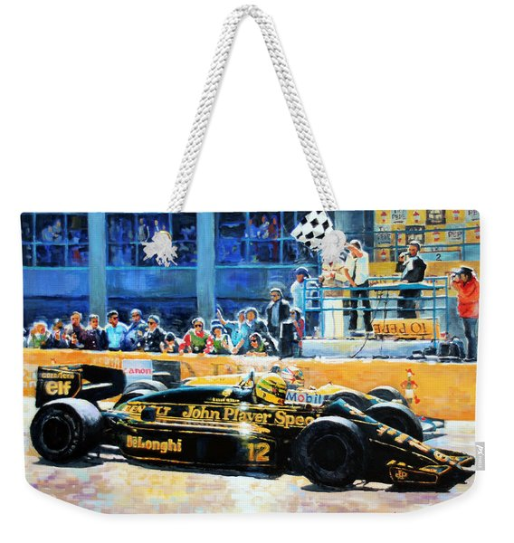 Senna Vs Mansell F1 Spanish Gp 1986 Weekender Tote Bag