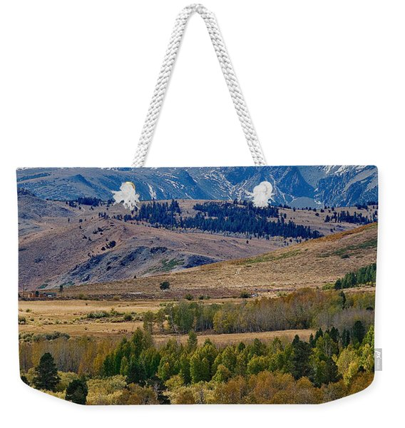 Weekender Tote Bag featuring the photograph  Sierras Mountains by Mae Wertz