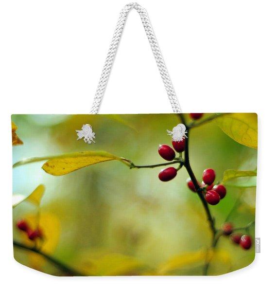 Spicebush With Red Berries Weekender Tote Bag