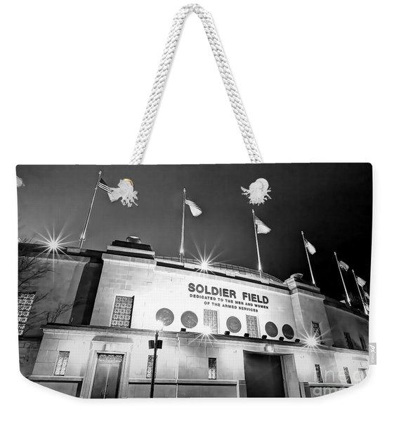 0879 Soldier Field Black And White Weekender Tote Bag