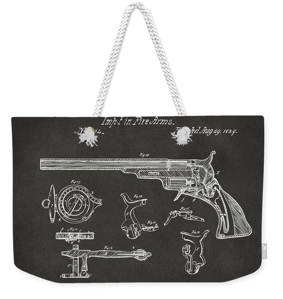 1839 Colt Fire Arm Patent Artwork - Gray Weekender Tote Bag