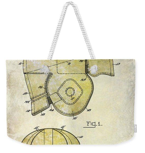 1925 Football Helmet Patent Drawing 2 Tone Weekender Tote Bag