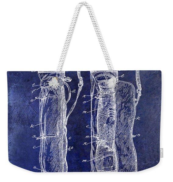 1933 Golf Bag Patent Drawing Blue Weekender Tote Bag