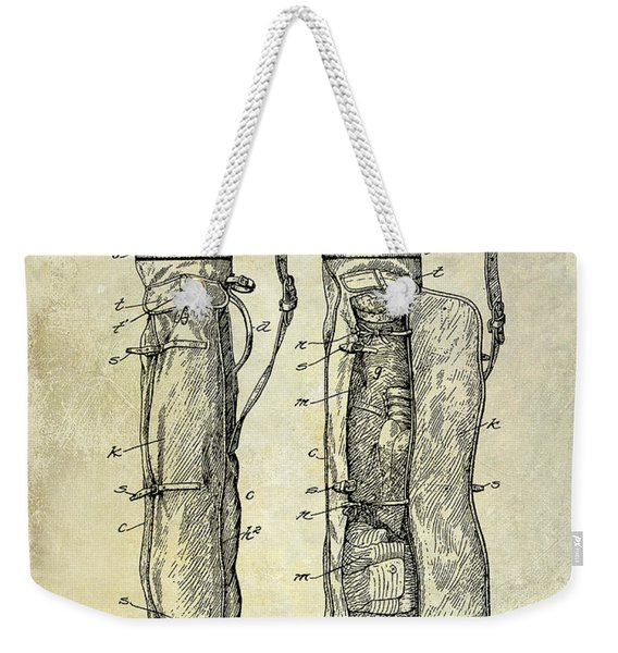 1933 Golf Bag Patent Drawing Weekender Tote Bag