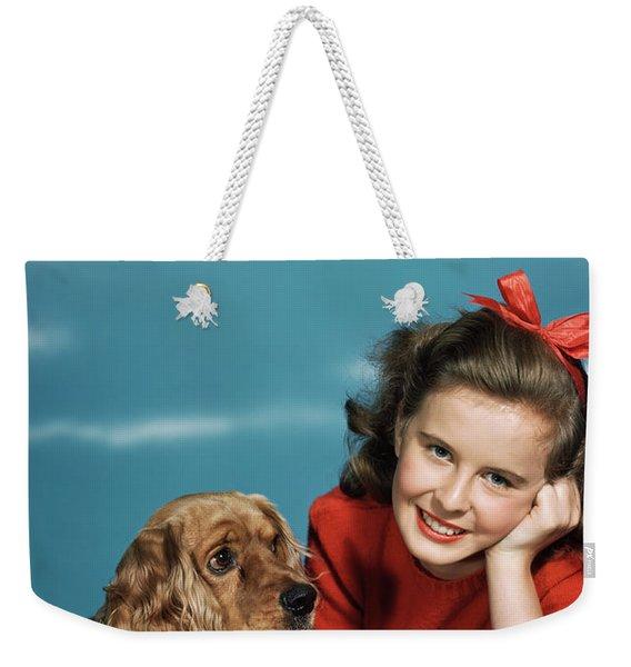 1940s 1950s Smiling Teen Girl Weekender Tote Bag