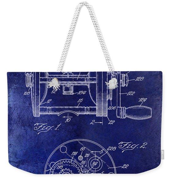 1943 Fishing Reel Patent Drawing Blue Weekender Tote Bag