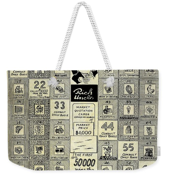 1950 Stock Market Game Patent Drawing Blue Weekender Tote Bag