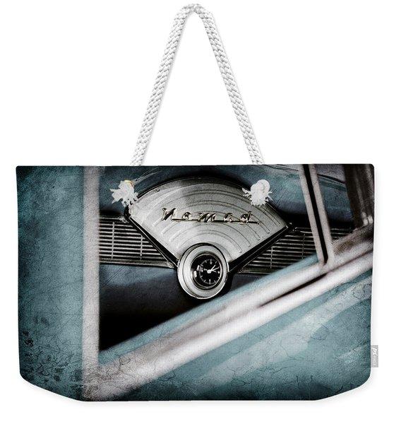 1956 Chevrolet Belair Nomad Dashboard Emblem Weekender Tote Bag