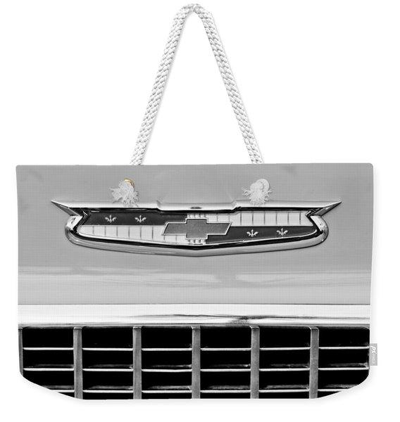 1956 Chevrolet Belair Nomad Grille Emblem Weekender Tote Bag