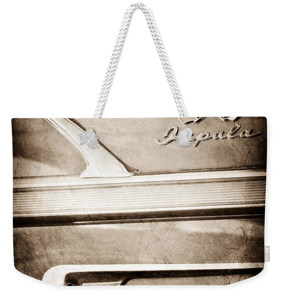 1958 Chevrolet Impala 2 Door Convertible Emblem Weekender Tote Bag