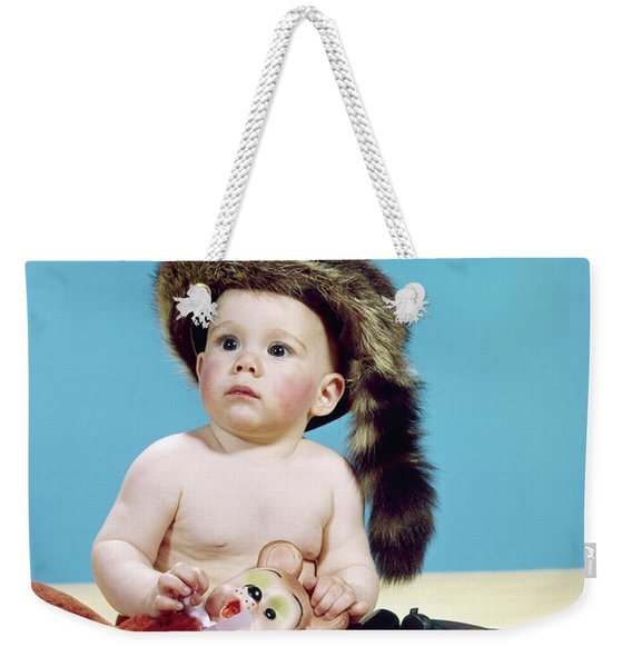 1960s Baby Boy Wearing Coonskin Cap Weekender Tote Bag