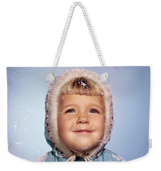 1960s Little Girl Holding Snow Ball Weekender Tote Bag