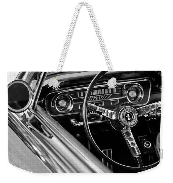 Weekender Tote Bag featuring the photograph 1965 Shelby Prototype Ford Mustang Steering Wheel by Jill Reger