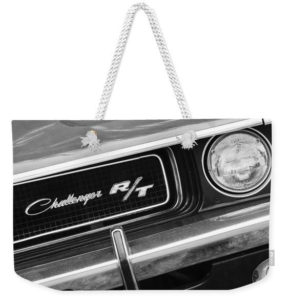 1970 Dodge Challenger Rt Convertible Grille Emblem Weekender Tote Bag