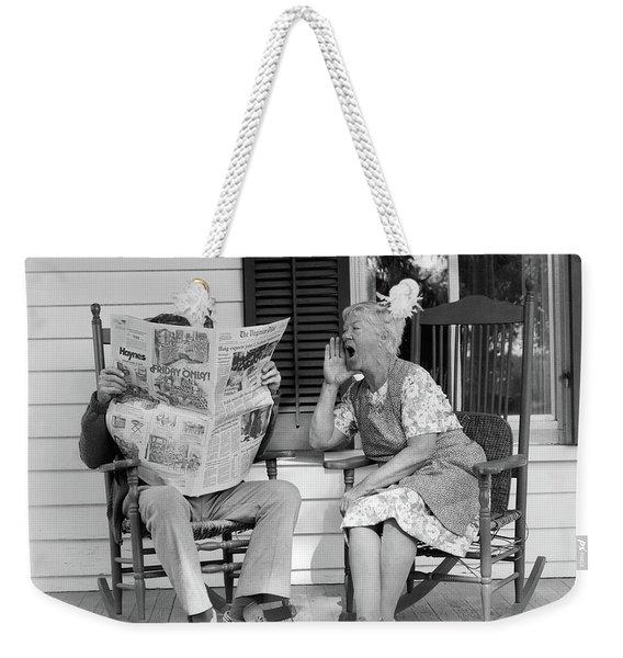 1970s Elderly Couple In Rocking Chairs Weekender Tote Bag