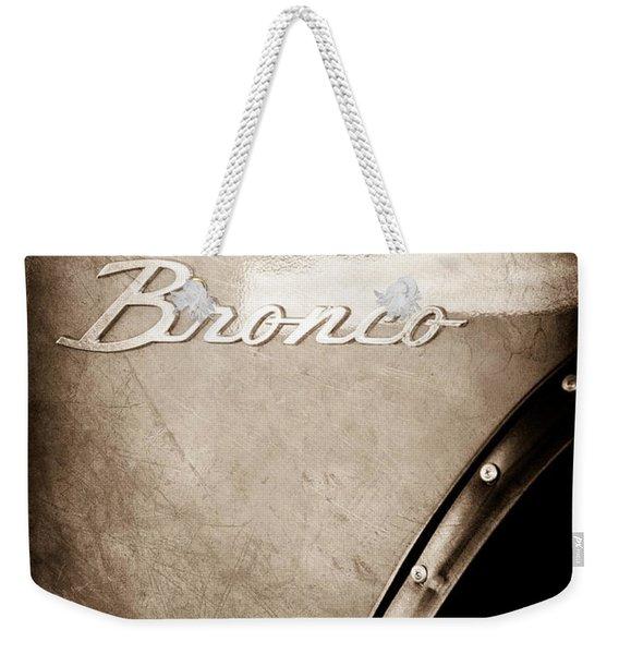 1973 Ford Bronco Custom 2 Door Emblem Weekender Tote Bag