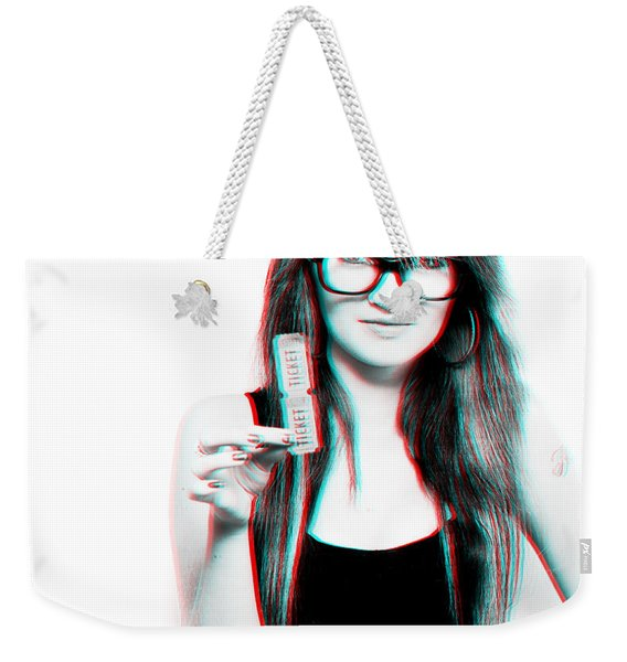 3d Woman Holding Movie Tickets Weekender Tote Bag
