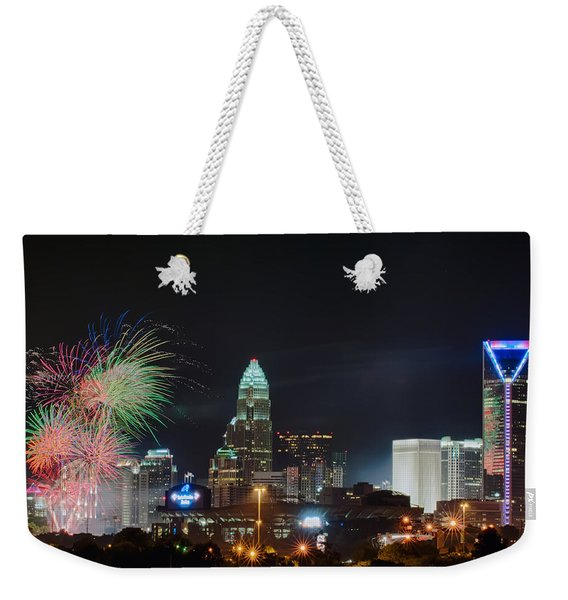4th Of July Firework Over Charlotte Skyline Weekender Tote Bag